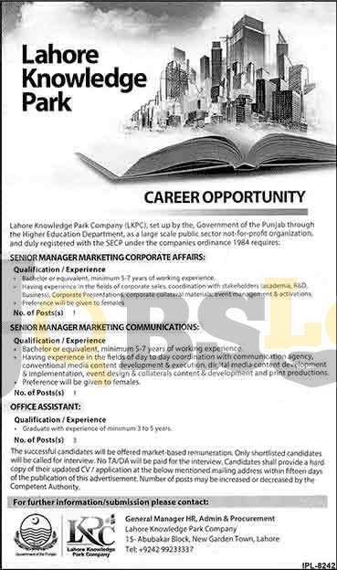 LKPC Lahore Knowledge Park Jobs 2016 Current Employment Offers