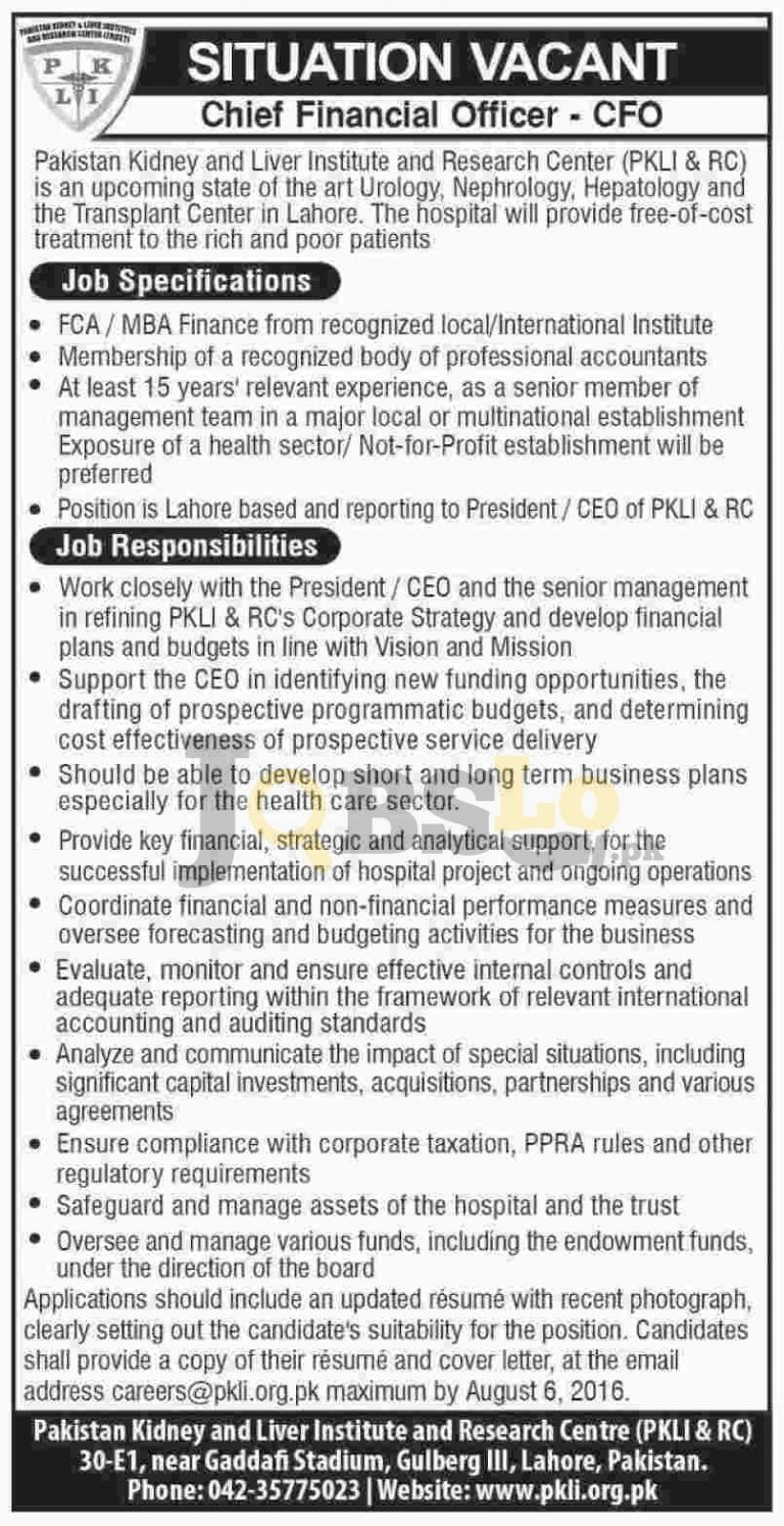 Pakistan Kidney and Liver Institute and Research Centre Lahore Jobs 2016 Advertisement Latest