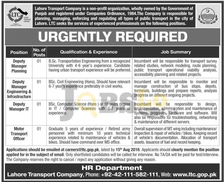 Lahore Transport Company Jobs  28 July 2016 Latest Career Offers