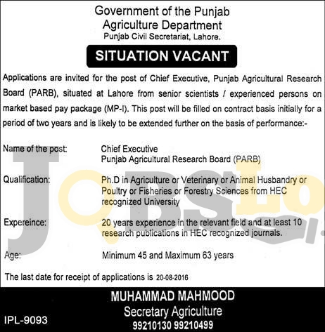 Agriculture Department Lahore Jobs 2016 Govt of Punjab Career Offers