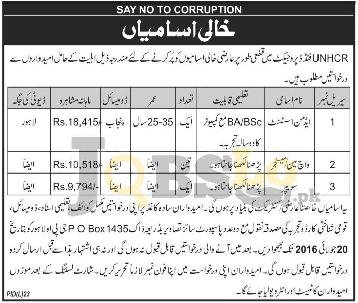 UNHCR Pakistan Jobs 2016 in Lahore Current Employment Offers