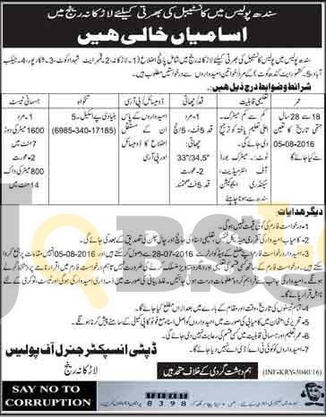 Constables Jobs 2016 in Sindh Police Larkana Current Vacancies