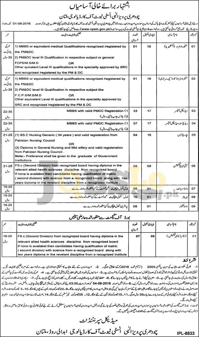 Multan Institute of Cardiology Jobs 2016 For Charge Nurse Eligibility Criteria