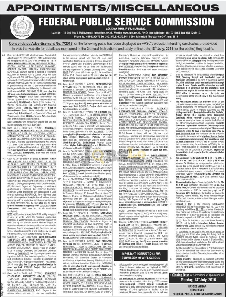 FPSC Jobs 2016 Federal Public Service Commission Employment Offers