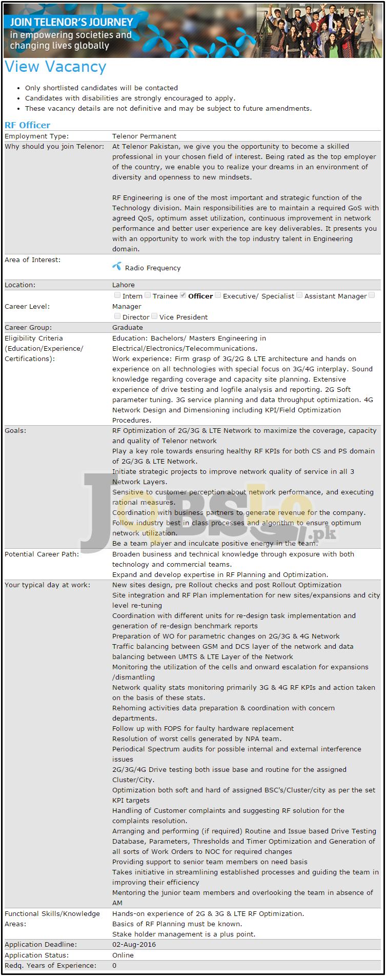 Telenor Lahore Jobs July/ August 2016 Apply Online Last Date