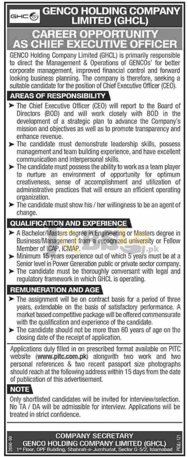 GENCO Holding Company Jobs July / August 2016 For CEO Online Form www,pitc.com.pk