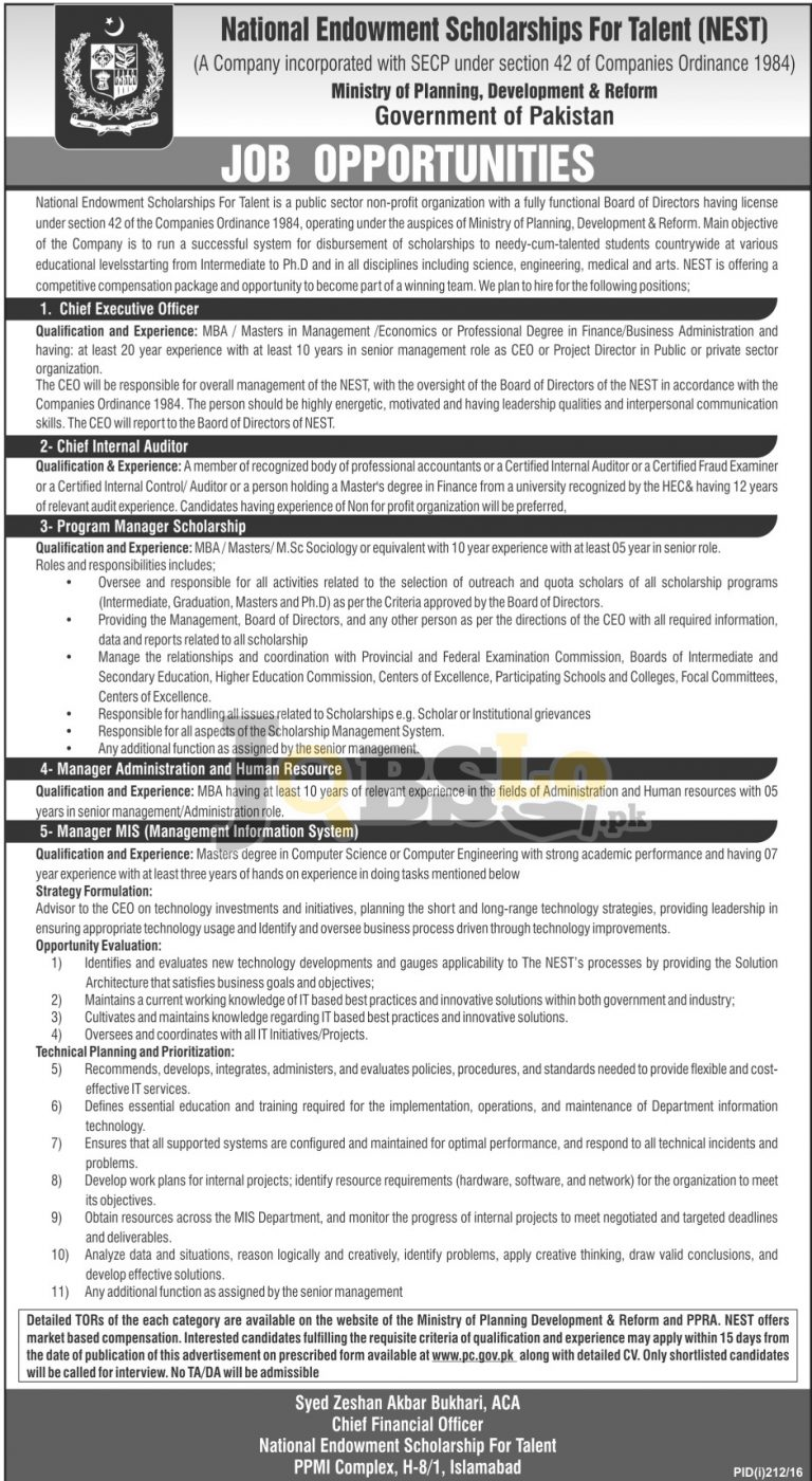 NEST Ministry of Planning Reforms and Development Jobs July 2016 Online Application Form www.pc.gov.pk