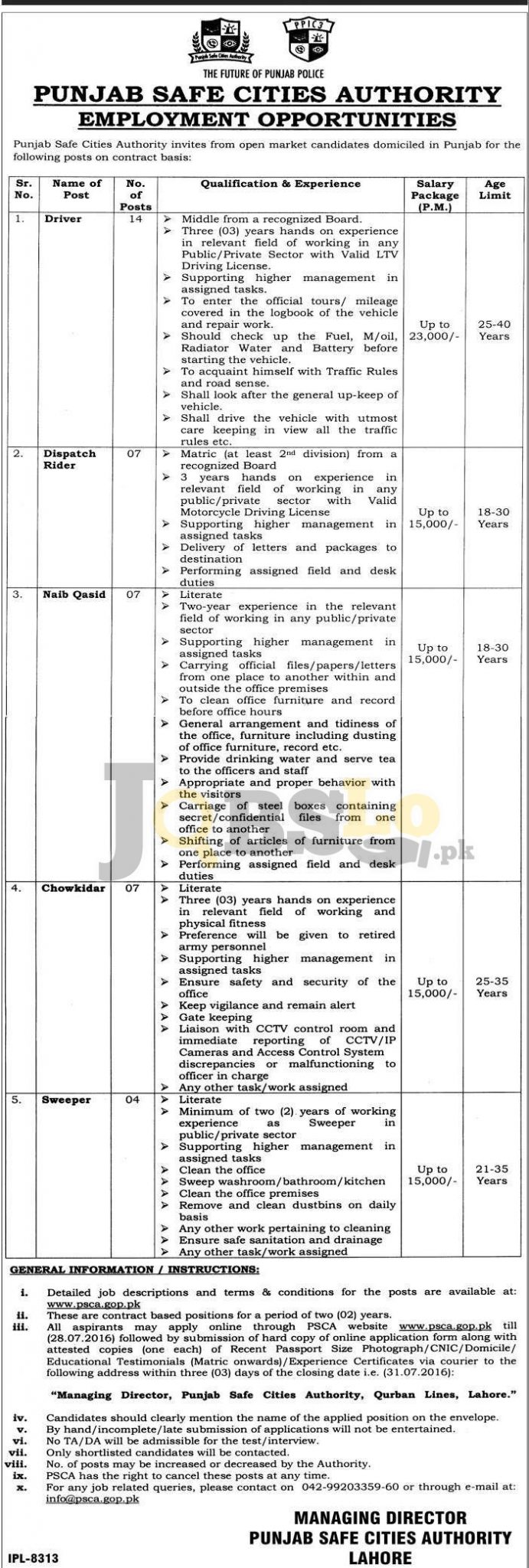 Punjab Safe Cities Authority Jobs July 2016 Current Employment Opportunities