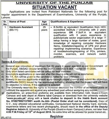 Punjab University Jobs 2016 Latest Add Online Form Download www.pu.edu.pk