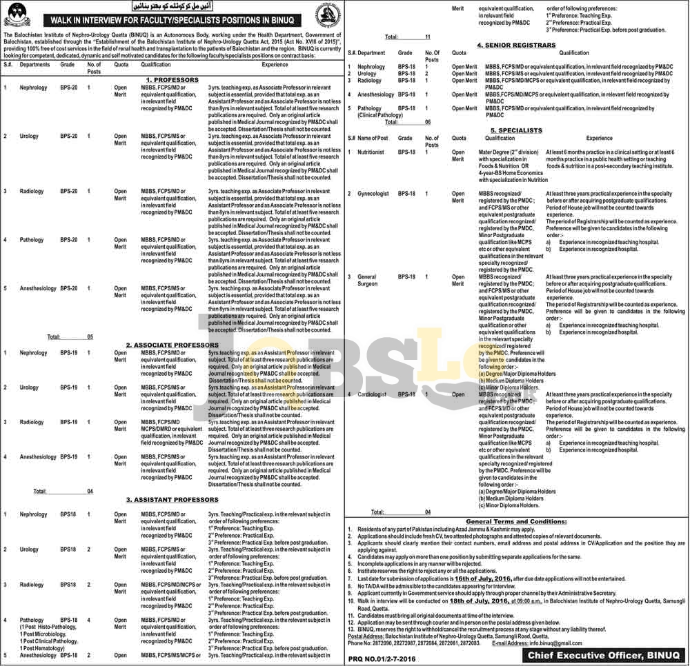 Balochistan Institute of Nephrology-Urology Jobs