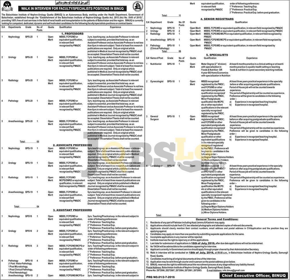 Balochistan Institute of Nephrology-Urology Jobs