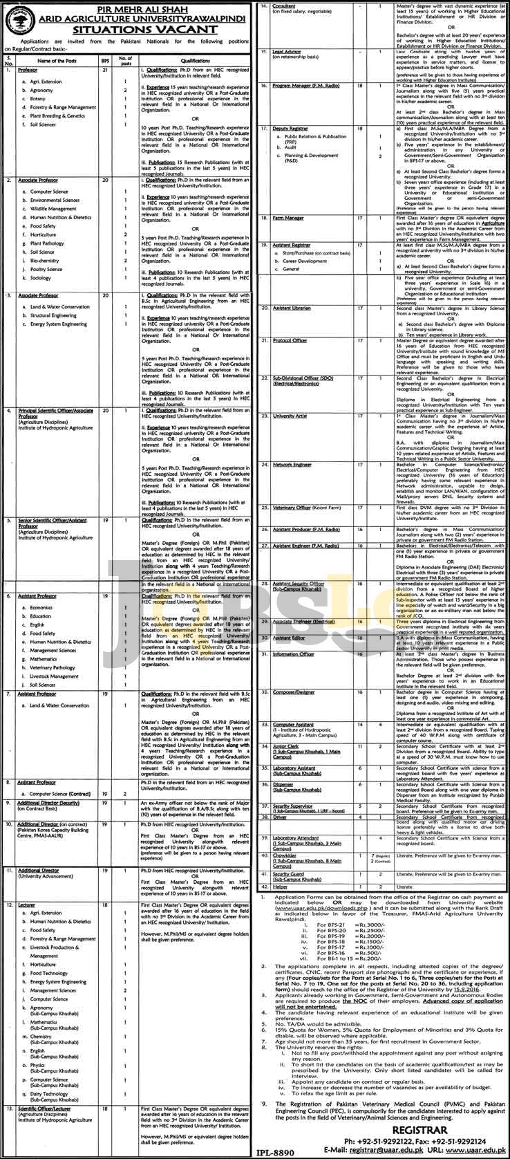 PMAS Arid Agriculture University Rawalpindi Jobs