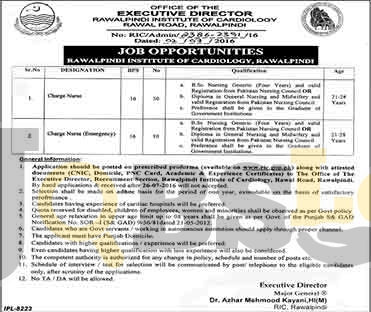 Institute of Cardiology Rawalpindi Jobs 2016 Online Application Form Download