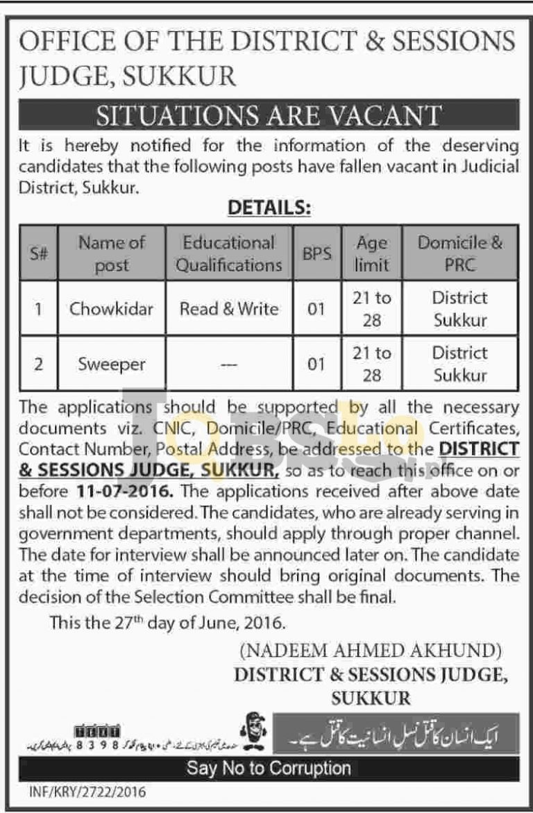 District & Session Court Jobs 2016 in Sukkur Latest Employment Offers