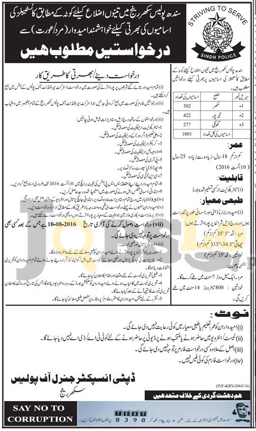 Constable Jobs 2016 in Sindh Police Sukkur Range For Male & Females