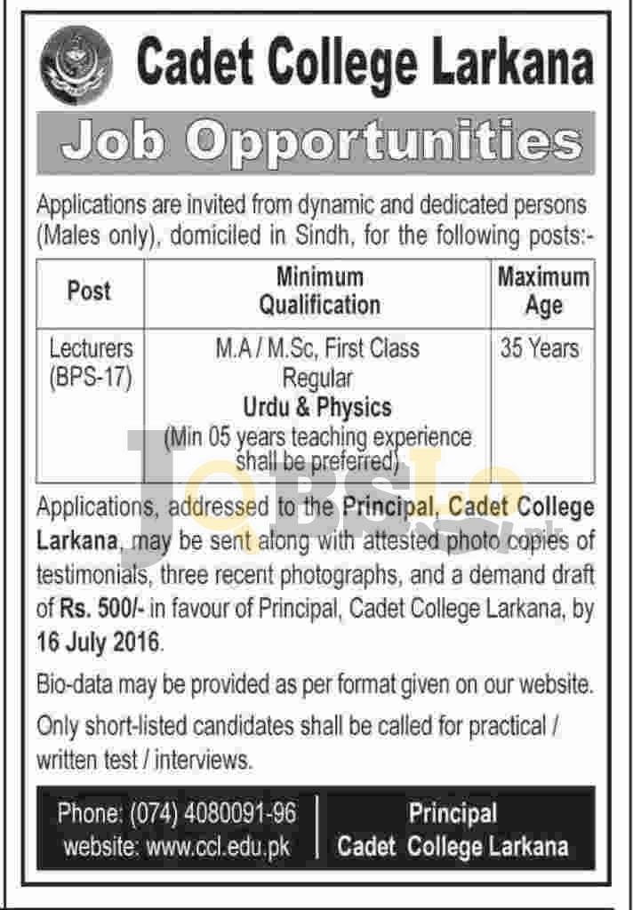 Lecturer Jobs 2016 in Cadet College Larkana Application Form Download Online