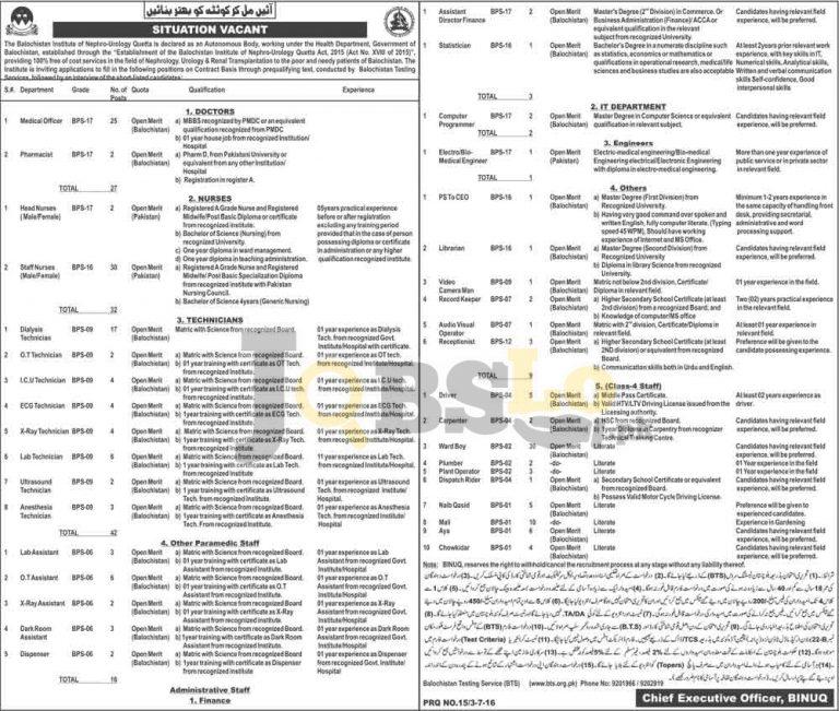 Balochistan Institute of Nephrology-Urology Quetta BINUQ Jobs 2016 BTS Form www.bts.org.pk