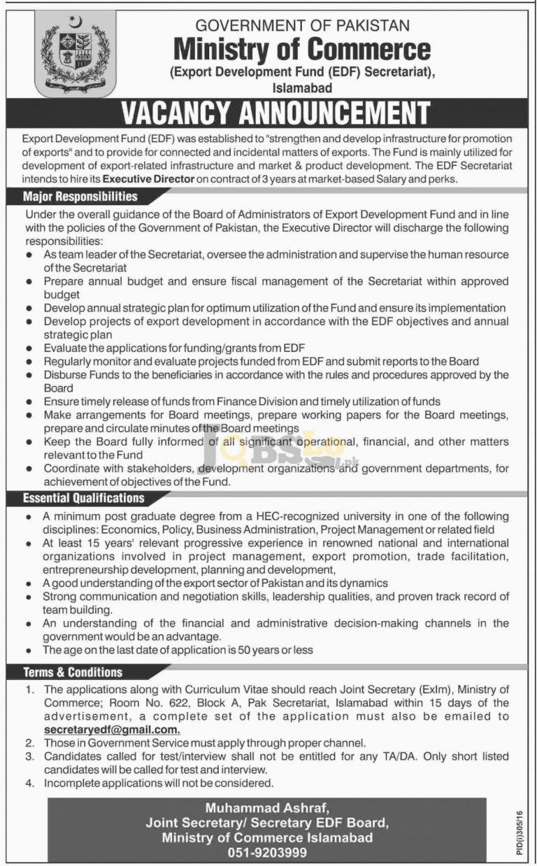 Executive Director Jobs 2016 Ministry of Commerce EDF Islamabad Career Offers
