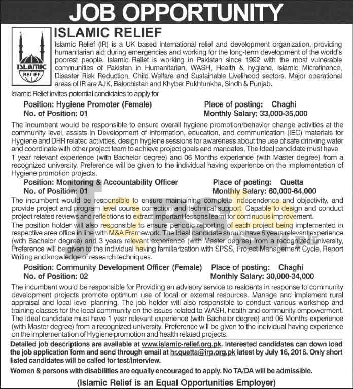 Islamic Relief Pakistan Jobs