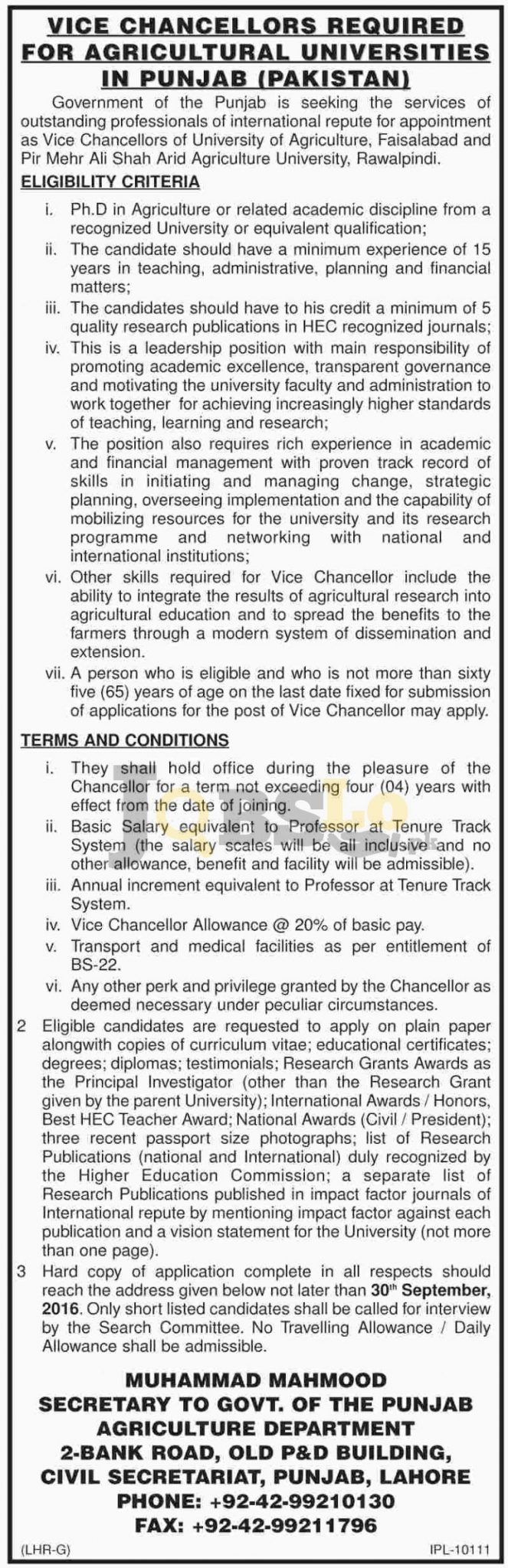 Agriculture Universities in Punjab Jobs 2016 Latest Employment Offers