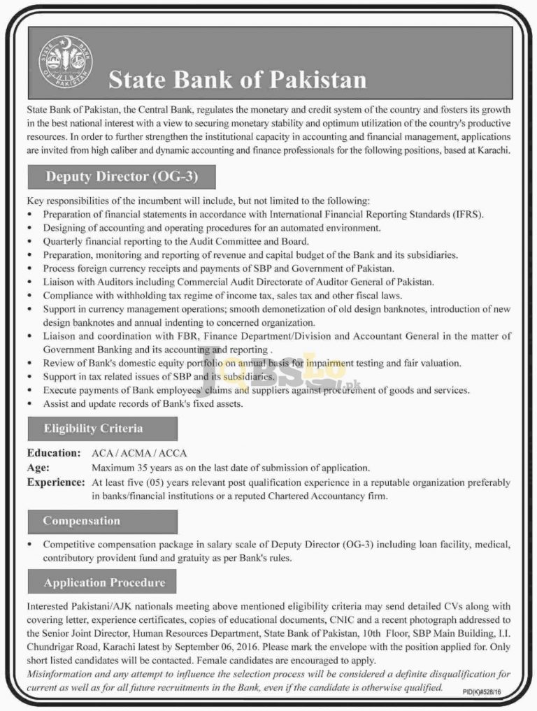 State Bank of Pakistan Jobs 2016 Karachi Current Employment Offers