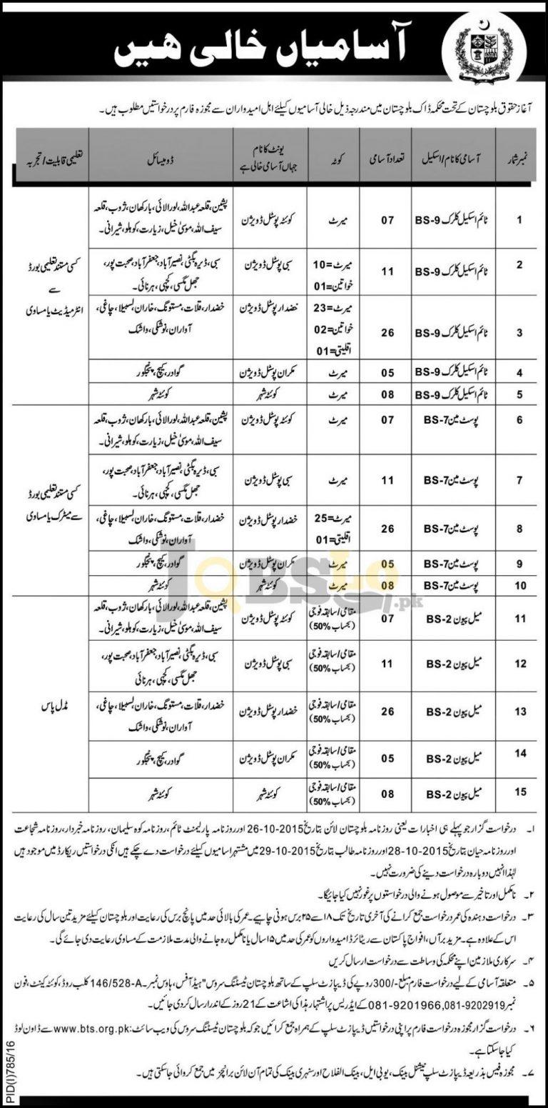 PPO Jobs 2016 Pakistan Post Office Department Aghaz-e- Huqooq Balochistan BTS Test Date