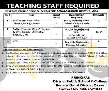 District Public School & College Okara Jobs 2016 For Subject Teachers Male/Female Eligibility Criteria