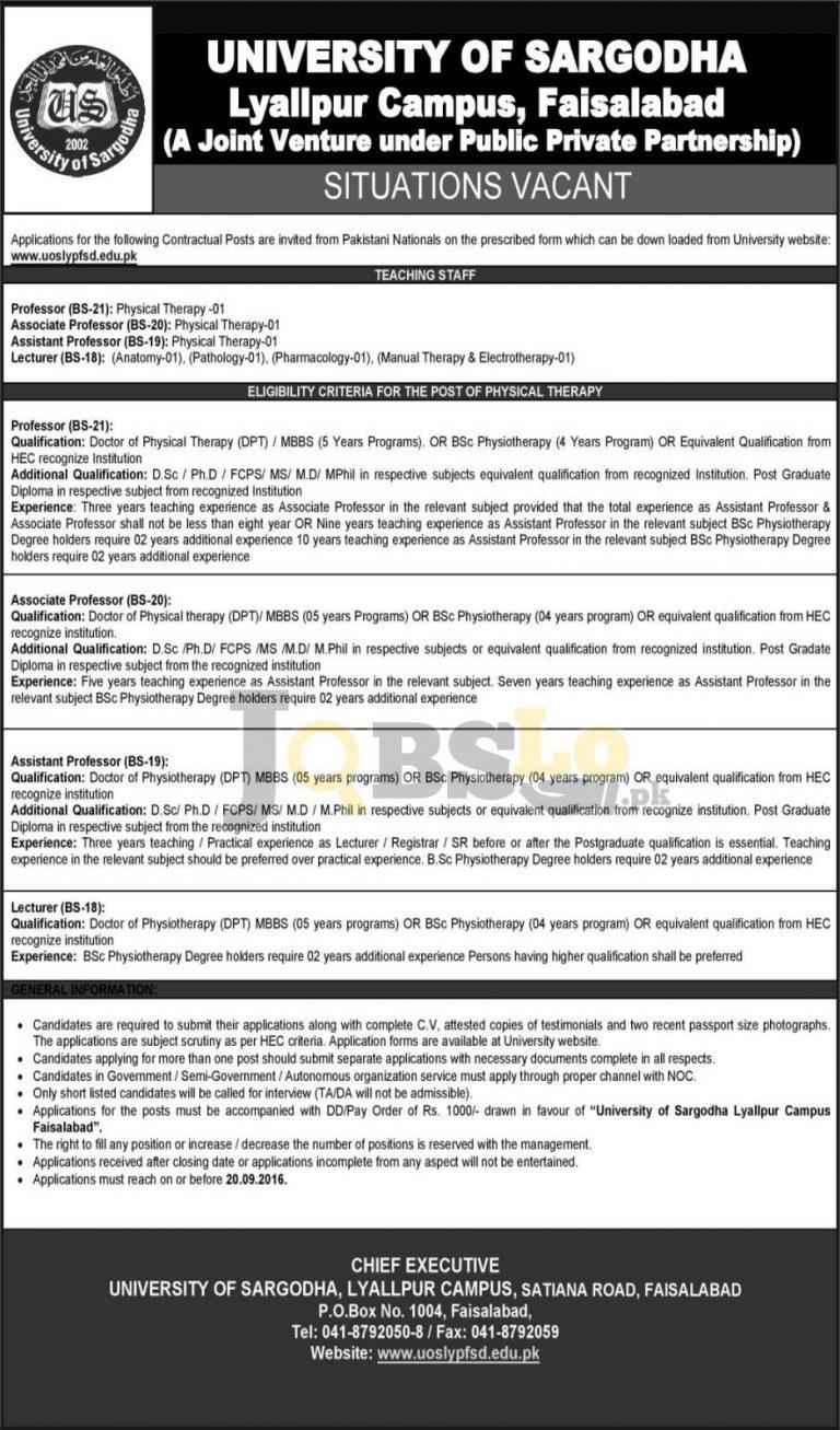 University of Sargodha Lyallpur Campus Faisalabad Jobs 2016 Application Form Download
