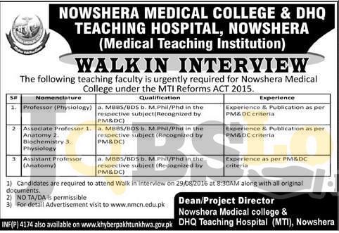 Nowshera Medical College Jobs August 2016 Walk In Interview Schedule Latest