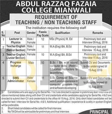 Abdul Razzaq Fazaia College Mianwali Jobs 2016 For Lecturer in Physics Eligibility Criteria