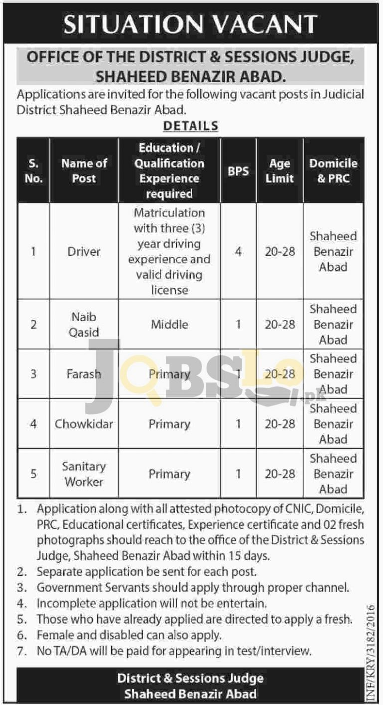 District & Session Court Jobs 2016 in Shaheed Benazirabad For BPS-01 to BPS-04