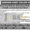 Garrison Cadet College Kohat Jobs 2016 For Lecturer Eligibility Criteria