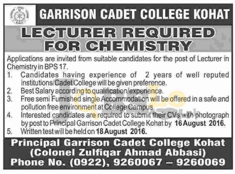 Garrison Cadet College Kohat Jobs 2016 For Lecturer Eligibility Criteria