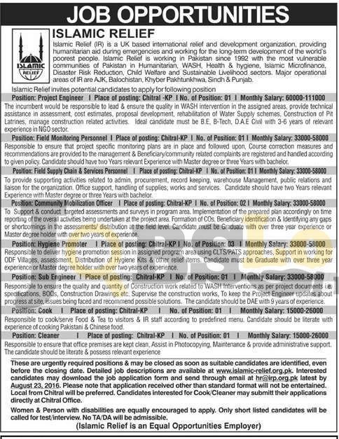 Islamic Relief NGO Jobs 2016