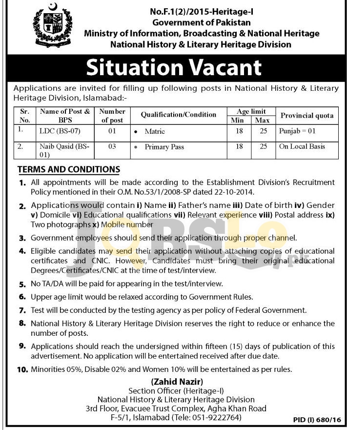 National History & Literacy Heritage Division Islamabad Jobs August 2016 Advertisement Latest