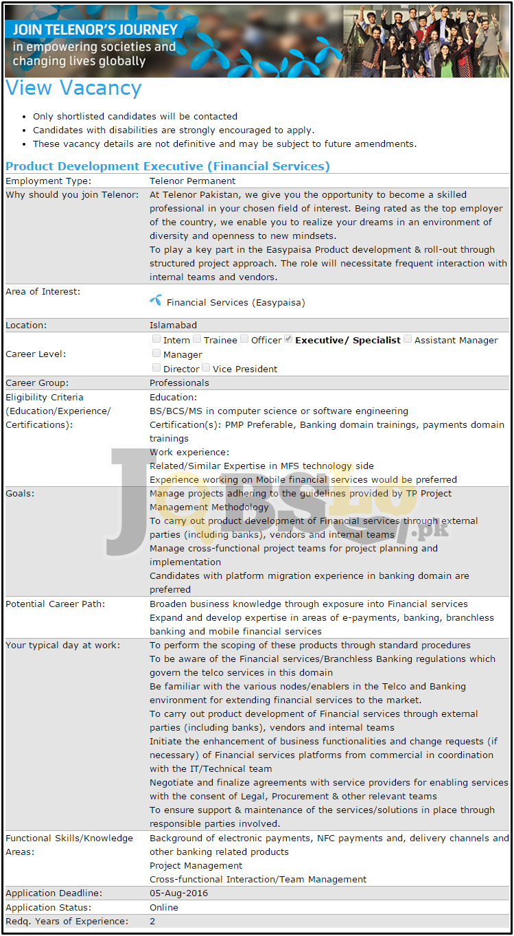 Telenor Islamabad Jobs August 2016 For Product Development Executive Eligibility Criteria