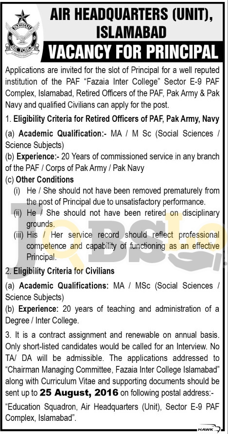 PAF Air Headquarters Islamabad Jobs 2016 Latest Career Opportunities