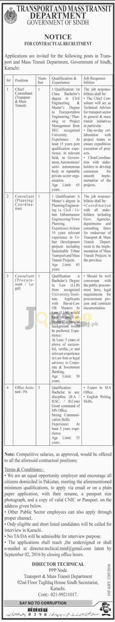 Transport and Mass Transit Department Sindh Jobs 2016 Latest Vacancies in Karachi