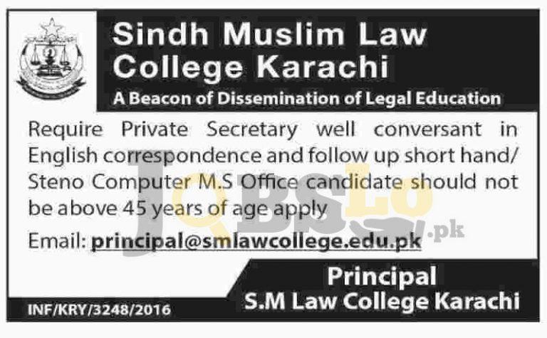Sindh Muslim Law College Karachi Jobs 2016 Current Vacancies