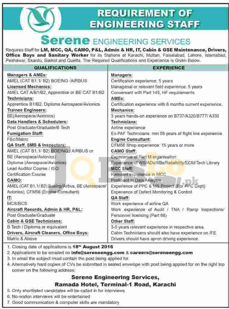 Serene Engineering Services Karachi Jobs 2016 Staff Required Latest Add