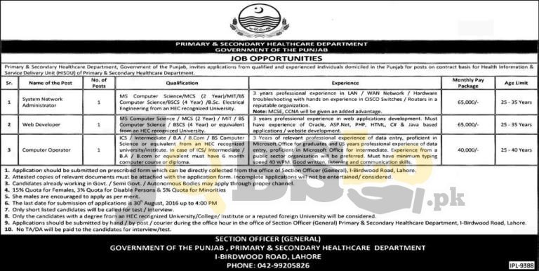 Primary & Secondary Healthcare Department Lahore Jobs Lahore 2016 Govt of Punjab