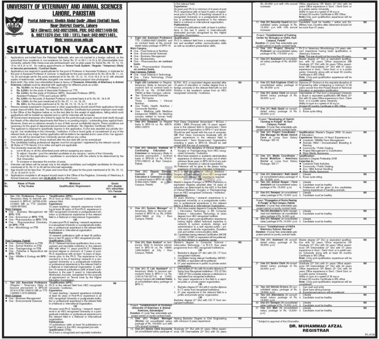 UVAS Lahore Jobs August 2016 Latest Add Online Application Form Download