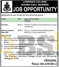 Lawrence College Murree Ghora Gali Jobs 2016 Advertisement Latest