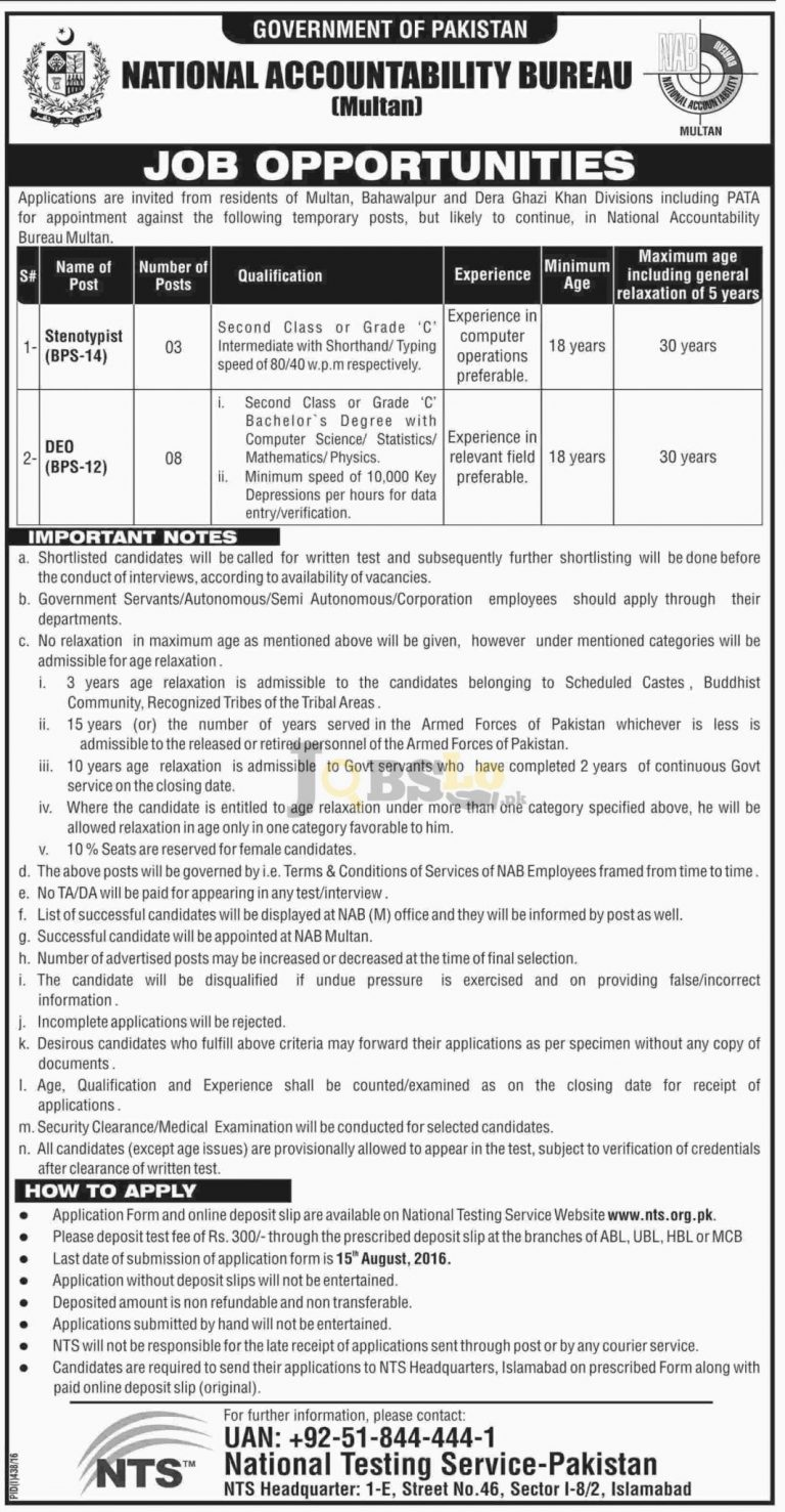 National Accountability Bureau Multan Jobs 2016 For Stenotypist NTS Online Form www.nts.org.pk