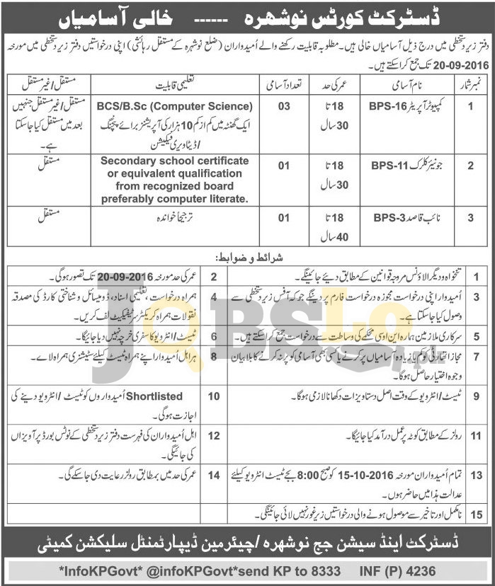 District and Session Court Jobs