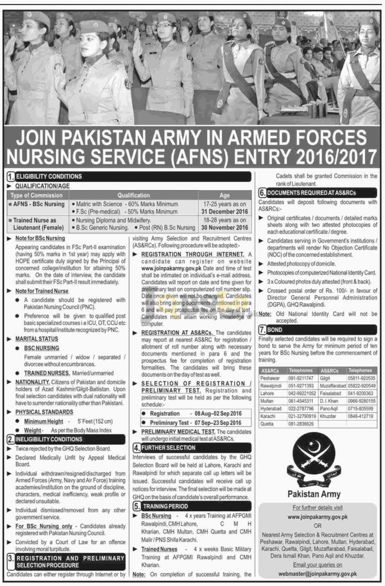 Join Pak Army as Armed Forces Nursing Service August 2016 -17 www.joinpakarmy.gov.pk