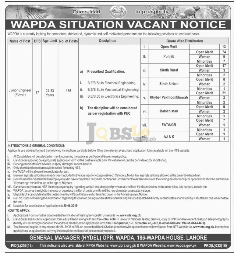 WAPDA Jobs August 2016 for Junior Engineers NTS Online Form Download
