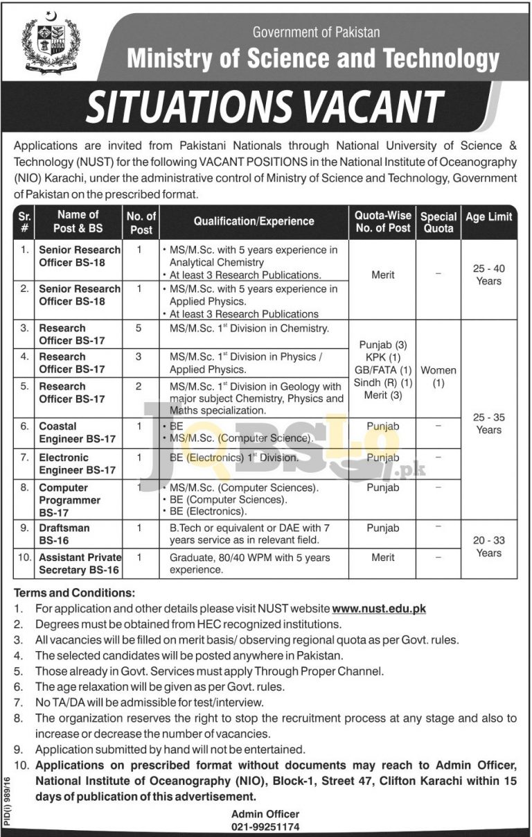 Ministry of Science and Technology Jobs 2016 National Institute of Oceanography Online Form Download
