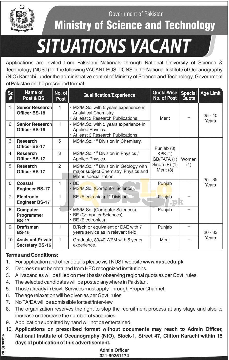 Ministry of Science and Technology Jobs 2016 National Institute of Oc