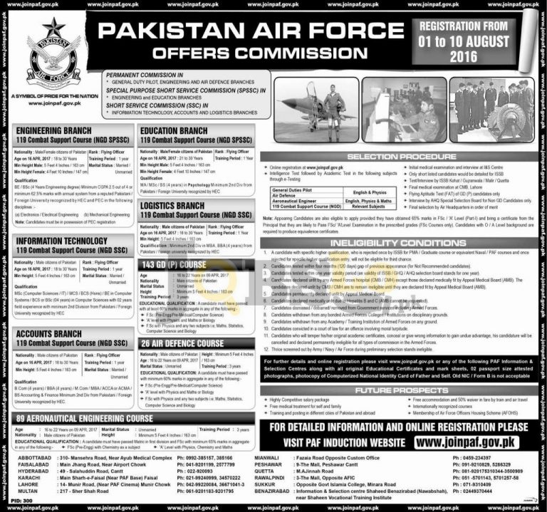 Join Pakistan Air Force 2016 Online Registration Through SCC, SPSSC & Permanent Commission